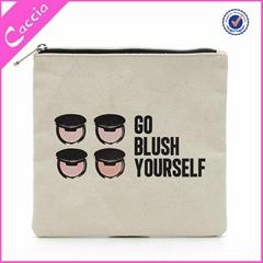 Promotion fashion design ladies plain custom canvas makeup bag