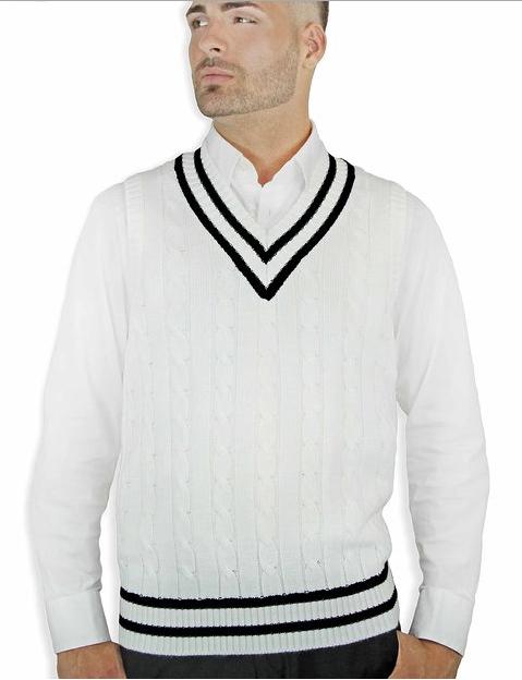 Latest Design V Neck Cable Knitting Sleeveless Man Vest 3