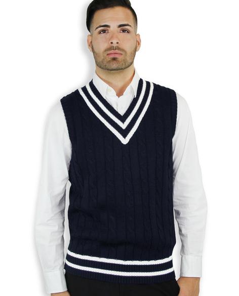 Latest Design V Neck Cable Knitting Sleeveless Man Vest 1