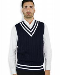 Latest Design V Neck Cable Knitting Sleeveless Man Vest