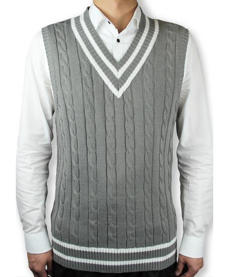 Latest Design V Neck Cable Knitting Sleeveless Man Vest 2