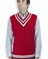 Latest Design V Neck Cable Knitting Sleeveless Man Vest 4