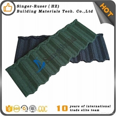 China Manufacturer Singer Building Material Stone Coated Metal Roof Tile