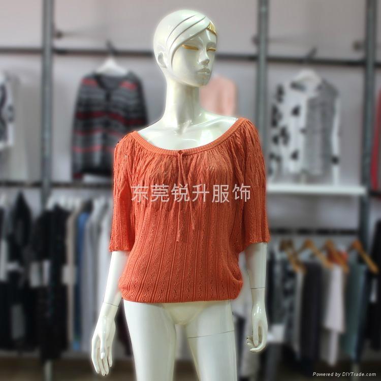 女式可愛大圓領系帶半袖網眼寬鬆毛衣加工 1