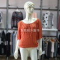 Girls Orange Half Sleeve Eyelet Sweater Tie Collar Knitwear Tops 1