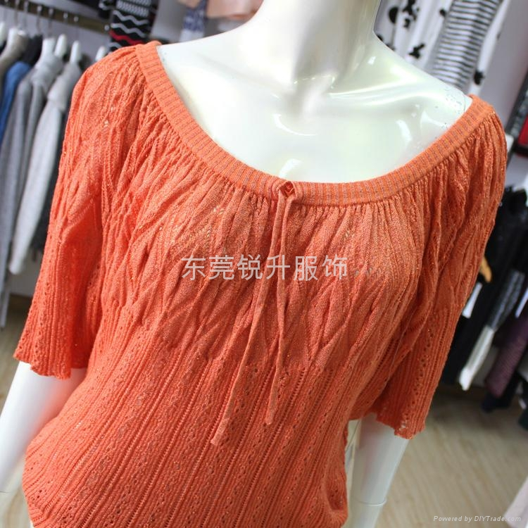 Girls Orange Half Sleeve Eyelet Sweater Tie Collar Knitwear Tops 2
