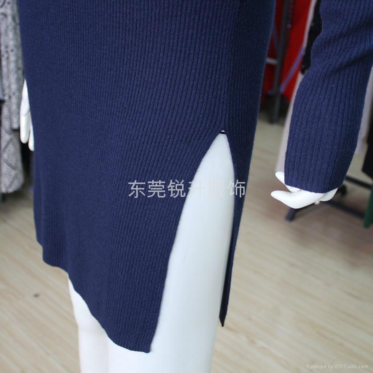 下擺開叉修身毛衣連衣裙來圖來樣加工 3