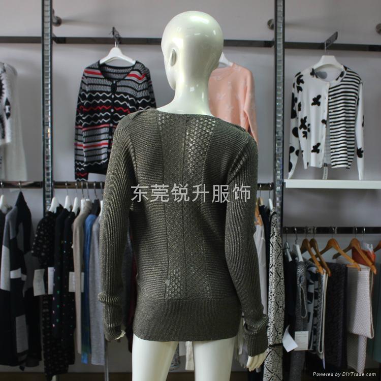 外貿工廠加工女性時尚假兩件性感鏤空毛衣 2
