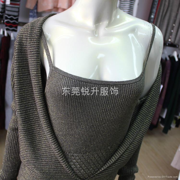 外貿工廠加工女性時尚假兩件性感鏤空毛衣 4