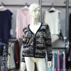Cotton/Lurex design knit cardigan sweater for women