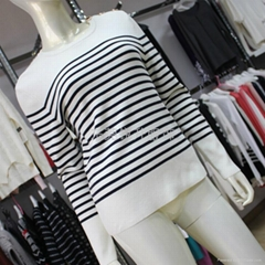 Womens Stripe Design Knit Sweater
