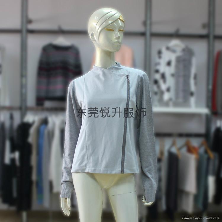 外貿毛衣加工廠生產女式拼接拉鍊毛衣 1