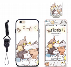 Cartoon Phone Cover for iPhone 6 with Phone Holder String and Tempered glass