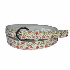 Ladies' Fashionable PU Leather Belts with Flower Printing
