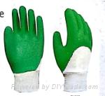 Cotton Interlock Glove Latex Half Coating Wave Crinkle Knit Wrist