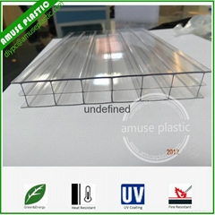 Hot Sell UV-Protection Bayer Triple-Wall PC Hollow Layers Compact Sheet