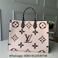Louis Vuitton Onthego Giant Logo LV White Green Beige Handle Tote Shoulder Bag