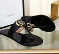 Gucci Leather thong sandal with Double G Cheap Gucci Sandals Gucci Slides women