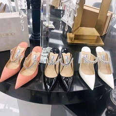 Cheap Jimmy Choo Pumps outlet Jimmy Choo Leather Mules with Crystal Strap