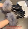 Wholesaler Co Co Black leather Gloves CC Brand Fur leather Gloves