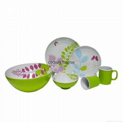 16pcs Melamine Two Tone Selva Theme Dinner Set