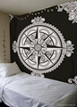 Bedsheet Mandala Wall Tapestry Black
