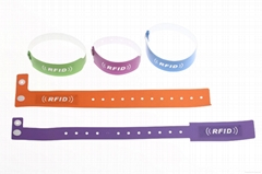 Access control disposable bracelet 13.56mhz RFID paper pvc wristband