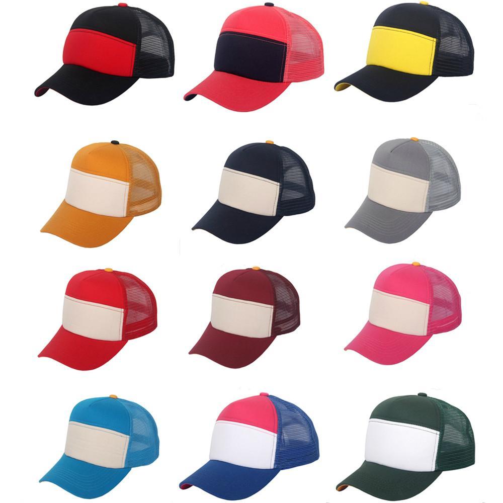 Snapback Baseball Cap Solid Trucker Mesh Blank Curved Visor Hat Plain Color New