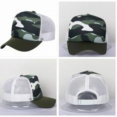 Camouflage Trucker Mesh Hats Green White Baseball Cap Cotton Front Mesh Back