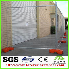 welded mesh panel with concrete base temporary fence