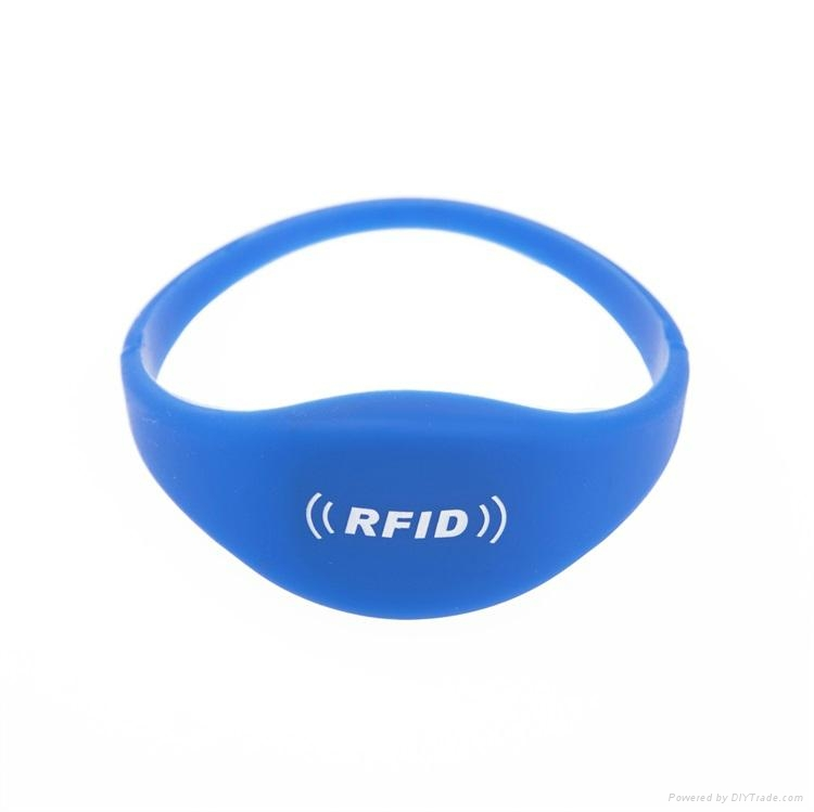 Factory best price 13.56Mhz MIFARE Classic 1K/ 4K silicon smart rfid wristband 2