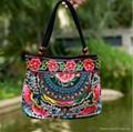 Boho women's flower embroidery handbag canvas shoulder bag