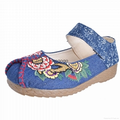 Vintage Women shoes Casual Linen Cotton Floral Embroidery Ladies Canvas Shoes