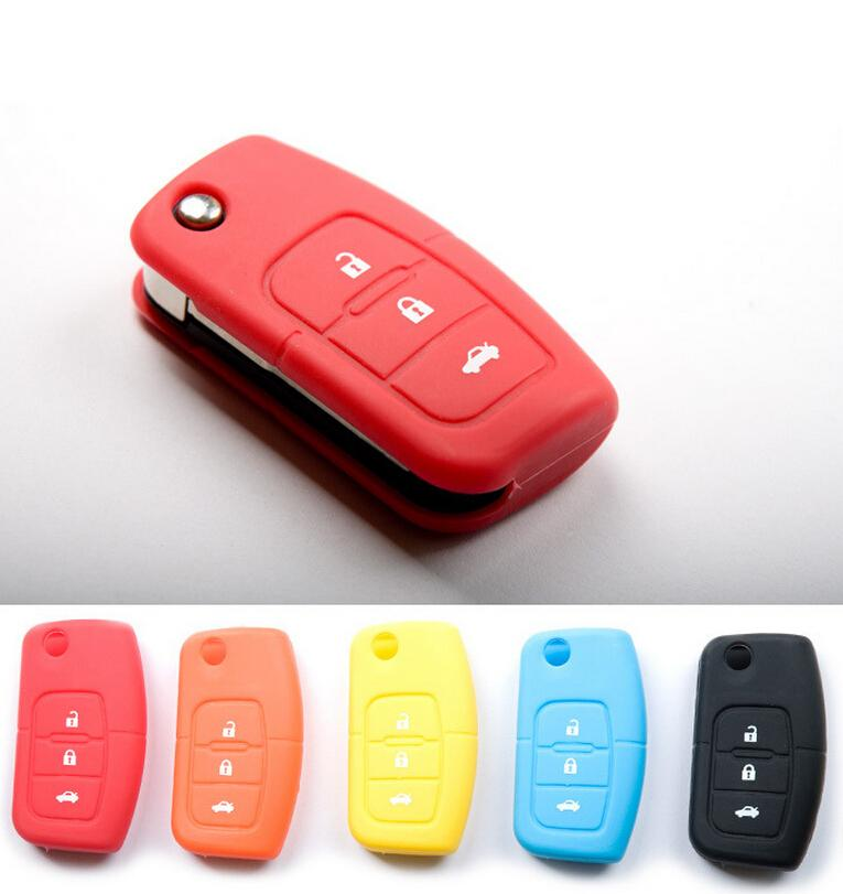 Red Blue Orange Eco-friendly Silicone Soft Cover Car Protective Key Cases 4