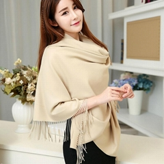 2017 Luxury Women's Cashmere Shawl Scarf Wrap Solid Color Style-Beige