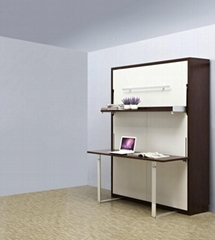 Wooden Vertical Space Saving Murphy Hidden Wall Bed With Table And Shelf