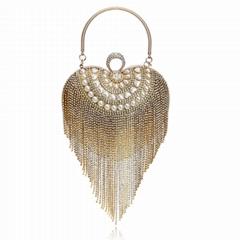 Women Heart Rhinestone Evening Handbag Fashion Clutch Purse