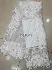 French tull lace New Arrival 3D design Embroidery Flower Bridal Lace Fabric