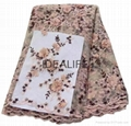 Seqiuns beaded lace fabric with 3D flower French net tull beaded lace  1