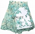 Seqiuns beaded lace fabric with 3D flower French net tull beaded lace  3