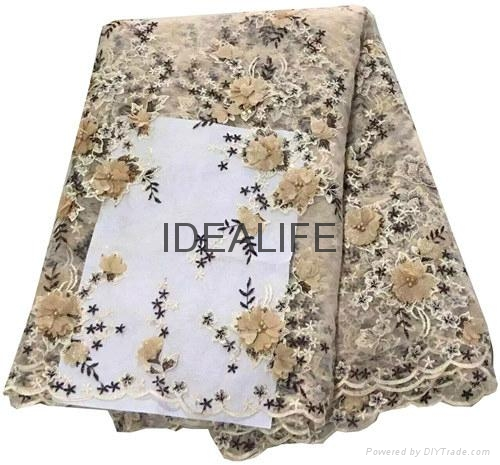 Seqiuns beaded lace fabric with 3D flower French net tull beaded lace  5