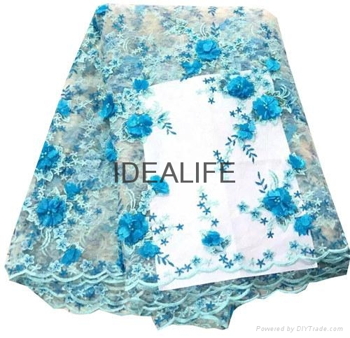 Seqiuns beaded lace fabric with 3D flower French net tull beaded lace  4