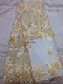 beaded lace fabric with 3D flower French net tull beaded lace