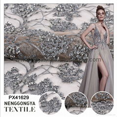 Different kinds floral bling mesh silver sequin fabric embroidery