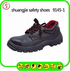 safety work shoes 9145-1 embossed leather pu outsole