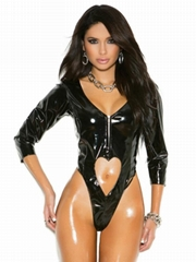 2017 New Hot Black Fashion Sexy Vinyl Lingerie With Heart Keyhole Cut Out Front