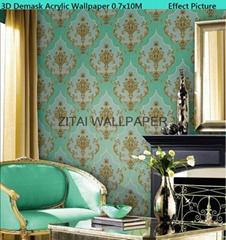 Royal designer waterproof acrylic coated heavy embossed wallpaper