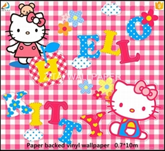 New designs 3d anime hello kitty washable pvc vinyl wall papers for kids room