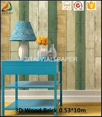 Fashion new designer natural fabric 3d wooden brick wallpaper for home