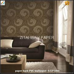 Latest fashion designs washable background vinyl coated pvc wallpape